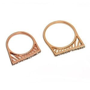 T&J Designs Jewelry - Rose Gold Pave Bar Ring